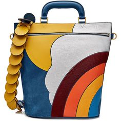 Anya Hindmarch Leather and Suede Top Handle Bag ($1,989) ❤ liked on Polyvore featuring bags, handbags, blue, blue leather purse, genuine leather purse, top handle leather handbags, real leather purses and circle purse