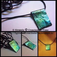 Iridescent Nacklace  #green #metalized #cracklè #blend #pendant #handmade #polymer #clay #artisan #craft #gift #idea #fimo #necklace