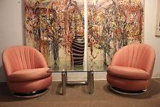 Mid Century Modern Pair of Chrome Swivel Chairs Milo Baughman...