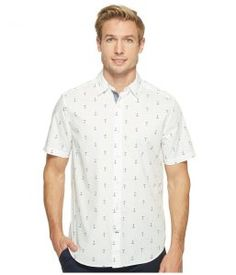 Nautica Short Sleeve Anchors Print (Bright White) Men's Clothing