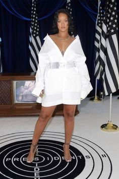 Rihanna proves the white shirt dress is all you need this summer