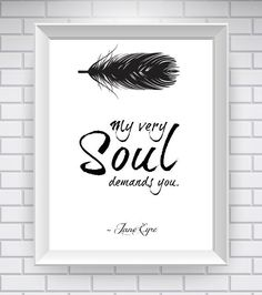White Jane Eyre Quote Literary Quote Typography by NeverMorePrints, $15.00