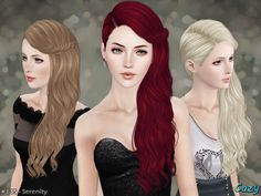 Serenity Hairstyle by Cazy by The Sims Resource for Sims 3 - Sims Hairs… Sims 3 Mods, My Sims, The Sims 4 Packs, Medieval Hairstyles, Best Sims, Sims Hair, Hair Setting, Sims Community, Sims Resource