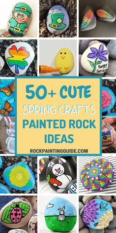 Spring and Easter Rock Painting Ideas - Get inspired with these easy spring crafts painted rock ideas. Patrick's Day crafts, Easter bunny crafts, and more! Rock Painting Patterns, Rock Painting Ideas Easy, Rock Painting Designs, Painting For Kids, Lady Bug Painted Rocks, Painted Rocks Craft, Painted Garden Rocks, Painted Bricks, Bunny Crafts
