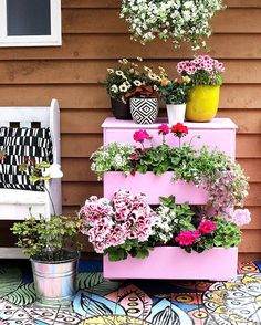 Today's project- turn an old dresser into a flower planter for the deck! #missionaccomplished