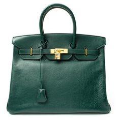 Hermes Pre-owned: green leather 'Birkin 35' vintage large satchel found on Polyvore