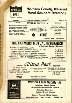 1984 Harrison County Missouri Rural Resident Directory Harrison