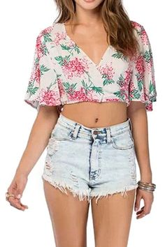 abaday V-neck Floral Print Midriff Loose T-shirt - Fashion Clothing, Latest Street Fashion At Abaday.com