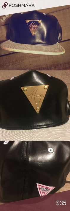 Hater SnapBack hat Black & white Hater snap back leather white snake print visor. Practically new! Husband never wore. Has golden Hater emblem on front and patch on back. Snap back makes it comfortable for all head sizes. Hater Accessories Hats