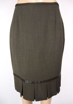 LAFAYETTE 148 Skirt Size 10 M Brown Wool Stretch Leather Trim Wear To Work #Lafayette148NewYork #ALine