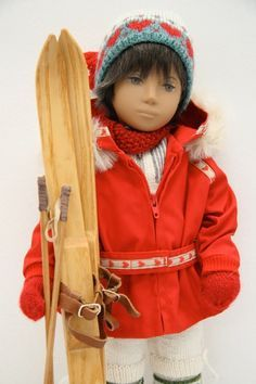 A fantastic ski outfit - I wonder where the skis came from? American Doll Clothes, American Dolls, Sasha Doll, Smock Dress, Doll Toys, Girl Dolls, American Girl, Skiing, Winter Hats