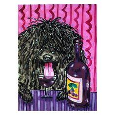 Puli , puli art , puli print, wine, wine art , wine print , 8x10 dog art , modern folk art