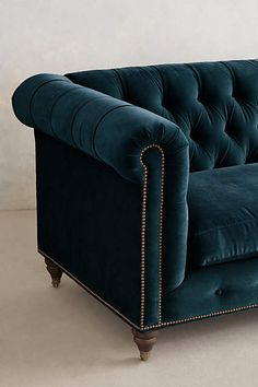 PERFECT. -- Velvet Lyre Chesterfield Sofa, Hickory - anthropologie.com