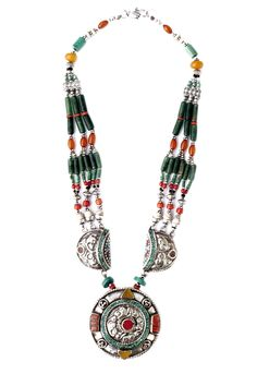 Beaded Ethnic Drop Pendant Statement necklace from Urbiana