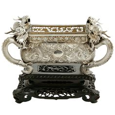 Chinese Export Silver Jardiniere | From a unique collection of vintage more silver, flatware and silverplate at https://www.1stdibs.com/jewelry/silver-flatware-silverplate/more-silver-flatware-silverplate/