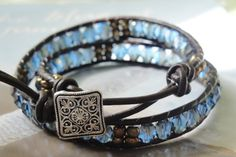 Sapphire Blue Ice Double Wrap Leather Bracelet by OceanaireDreamer