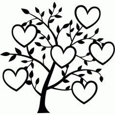 Silhouette Design Store - View Design #100052: 6 heart family tree