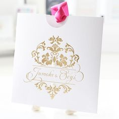 A beautiful example of our gold stamp foiling, seen here on one of our pocket invitations. www.secretdiary.co.za