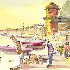 Ce croquis capture les ablutions tôt le matin sur les rives du Gange dans la ville sainte de Varanasi (Bénarès), en Inde. Un pèlerin ventru est absorbé dans ses rituels, tandis que l'observateur se blottit sous son châle. Dans le fond est la station de pompage massive. C'est une copie de mon dessin original fait avec aquarelle, plume et encre. L'impression est conçue pour flotter dans un cadre standard 8 x 10 avec une fine bordure blanche. Taille de l'image réelle est de 7 x 9. Image #3…