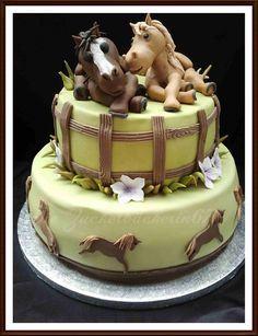 Birthday Cake with Horses - by DieZuckerbäckerin67 @ CakesDecor.com - cake decorating website