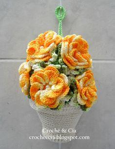 Crochê Gráfico: Puxa saco e porta pano de prato vasinho de flores