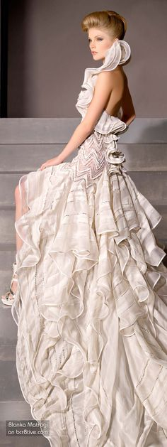 The Versatile Talents of Artisan Blanka Matragi Features her Anniversary Haute Couture Collection and some of her other Outstanding Creative Products Couture Fashion, Runway Fashion, High Fashion, Fashion Show, Fashion Hair, Bridal Gowns, Wedding Gowns, Organza, Chiffon