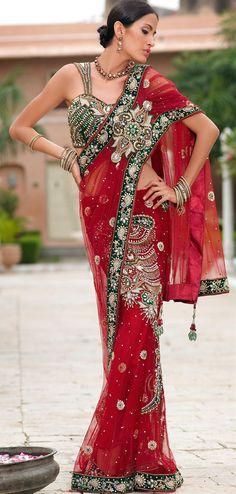 Brilliant red designer net saree