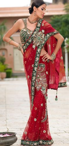 Brilliant red designer net saree