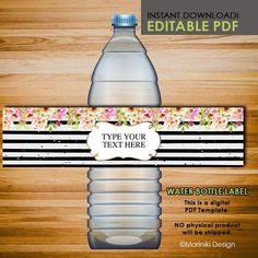 Baby Shower Water Bottle Labels, Wedding Water Bottle Labels, Editable Adult Birthday Party Printables - INSTANT DOWNLOAD AWB6