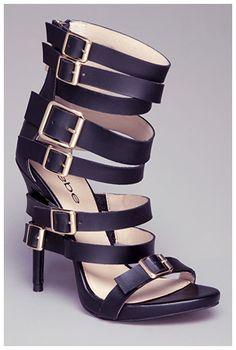 "bebe ""Cassee"" Multi-Buckle Sandals in black, $149 (Giuseppe Zanotti E40186 look-a-likes)"
