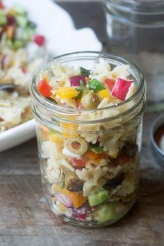 Israeli Pasta Salad in a jar | theviewfromgreatisland.com