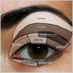 Как правильно наносить тени на глаза?  Вспомните, сколько раз вы пытались сделать красивый макияж глаз? Все попытки повторить макияж любимой актрисы или же певицы заканчивались провалом? Значит, вы не знаете секретов эффектного макияжа.  Все очень просто. Возьмите несколько теней одной тональности, но разных оттенков. С их помощью вы сможете сделать красивые цветовые переходы. Например, это может быть черно-серая или же коричнево-бежевая палитра.  Теперь ваши тени надо нанести согласно схеме…