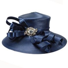 "Luxurious hat with 5"" wide brim. Curly satin ribbon decoration. Center gem accent. Adjustable drawstring inside. One size fits most."