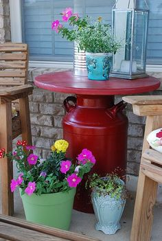 Milk Can Table -gotta make this!!