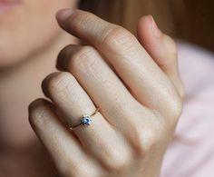 Bi color Sapphire Ring Gold Sapphire Ring Blue by MinimalVS