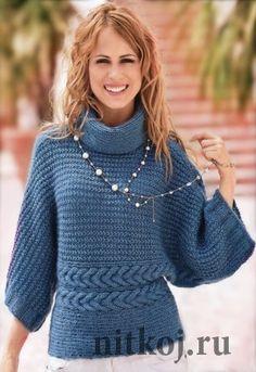 Вязаный пуловер – кимоно