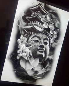 No photo description available. Buddha Tattoo Design, Elephant Tattoo Design, Buddha Tattoos, Japanese Tattoo Designs, Japanese Tattoo Art, Japanese Sleeve Tattoos, Japanese Temple Tattoo, Abstract Tattoo Designs, Dragon Tattoo Designs