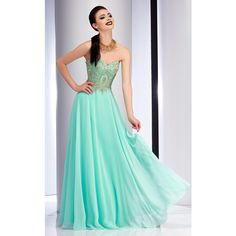 Clarisse 2715 Prom Dress 2017 Long Strapless Sleeveless ($278) ❤ liked on Polyvore featuring dresses, gowns, formal dresses, light mint, formal evening gowns, blue gown, formal gowns, blue formal dresses and mint green prom dress