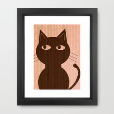 $32.00 Cute Cat On Woodgrain 1 Framed Art Print. Possibilities are endless when it comes to color choices of the art itself. Don't hesitate to request a color option. no pressure to buy.