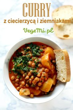 Curry z ciecierzycą Chana Masala, Tofu, Curry, Food And Drink, Healthy Recipes, Dinner, Vegetables, Cooking, Ethnic Recipes