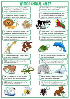 Describing animals - English ESL Worksheets for distance learning and physical classrooms Animal Riddles, Animal Worksheets, Animal Activities, Printable Worksheets, Vocabulary Activities, Free Printable, Verb Worksheets, Learning Activities, Kids English