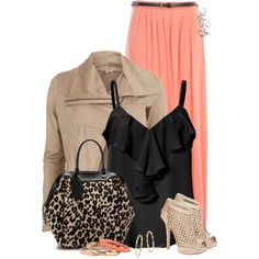 A fashion look from April 2014 featuring zip top, ruffle front shirt and long coral skirt. Browse and shop related looks.