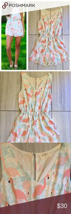 Flamingo plunge neck romper Strut your stuff in this fun patterned romper. Size small. Fully lined. Gently used and like new! 100% polyester. Fits true to size! Use the Buy Now button for fast shipping! 🌸 Everly Other