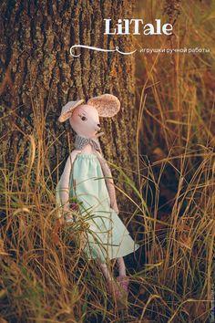 """Купить Игровая текстильная игрушка """"Мышь в светло-бирюзовом платье"""" - игрушка мышь, игрушка мышка"""
