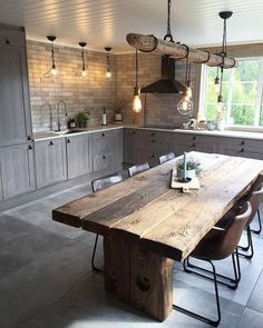 full rustic kitchen We are want to say thanks if you like to share this post to . - full rustic kitchen We are want to say thanks if you like to share this post to another people via - Home Decor Kitchen, Interior Design Living Room, Home Kitchens, County Kitchen Ideas, Log Cabin Kitchens, Kitchen Post, Decorating Kitchen, Design Interiors, Modern Interior Design