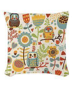 Flowers & Owls Throw Pillow