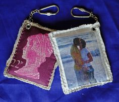 Fabric stamp keyrings by Habercraftey