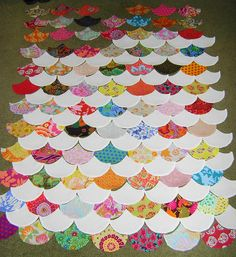 Kaffe Fassett fabrics clamshell quilt under construction. Like the white shells.