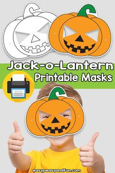 Printable Jack-o-Lantern Mask Template – Easy Peasy and Fun Membership Printable Halloween Masks, Printable Masks, Halloween Crafts, Printables, Easy Arts And Crafts, Crafts For Kids To Make, Pumpkin Mask, Pumpkin Carving, Firefighter Mask