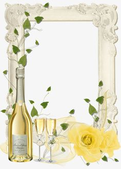 Delicate Transparent PNG Frame with Yellow Roses and Champagne. Christmas Picture Background, Wine Glass Drawing, Best Photo Frames, Wedding Borders, Cocktail Party Invitation, Christmas Poster, Frame Clipart, Borders And Frames, Christmas Pictures